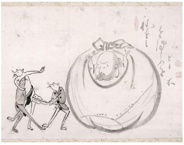 Hotei Watching Mice Sumo. Ink on paper, 37.2 x 52.4 cm. Ginshu collection.