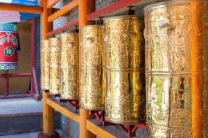 Prayer wheel at 14th Dalai Lama Birthplace, Taktser, Tibet. Haidong, Qinghai, China