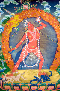 Photograph of a painting of Vajrayoginī in the form of Nāropa's Ḍākinī from a Thangka.